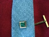 Vintage Tie Pin with Green Onyx or Marble Inset (SOLD)